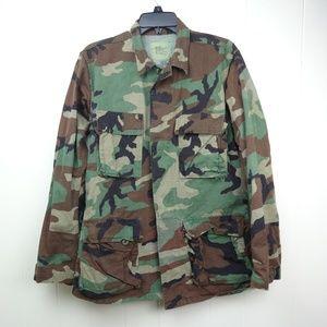 Mens Army Jacket Camo Camouflage Coat Woodland